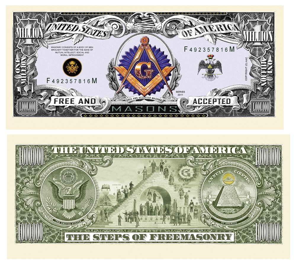 Amazon freemason masonic million dollar bill 10 count novelty amazon freemason masonic million dollar bill 10 count novelty toys games biocorpaavc Images