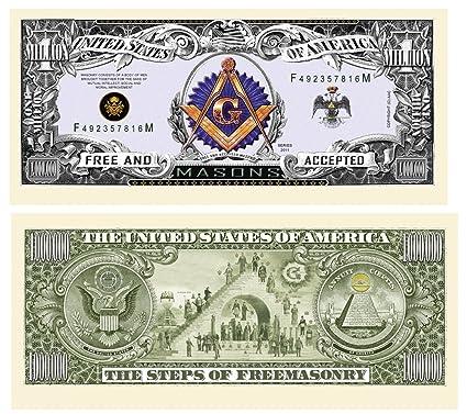 Amazon Freemason Masonic Million Dollar Bill 10 Count Novelty