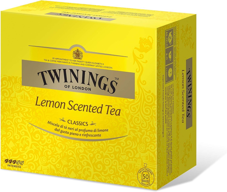 TWININGS LEMON SCENTED TEA Té negro LIMÓN PERFUME 50 BUSTINE 100GR: Amazon.es: Alimentación y bebidas