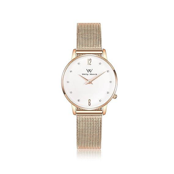 Welly Merck Reloj Analógico para Mujer Cuarzo Suizo Pulsera con Acero Oro Rosa W-C19M5: Amazon.es: Relojes
