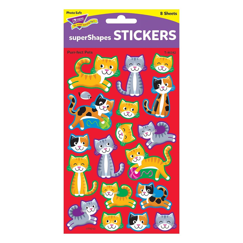 Inc Purr-fect Pets superShapes Stickers-Large 144 ct T-46342 TREND enterprises