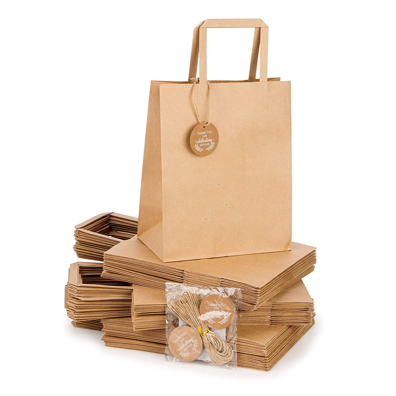 Kraft Paper Bags Bulk with Handles and Printed Thank-You Design for Gifts, Wedding Welcome, Merchandise, Party, Reception, Business, Craft Fair, Goodies, Retail | Set of 50 pcs, Medium 8x4.75x10 inch Kraft Nature