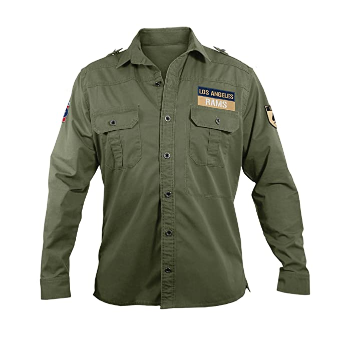wholesale dealer 267fd 38bb2 NFL Los Angeles Rams Men's Military Field Shirt, Large