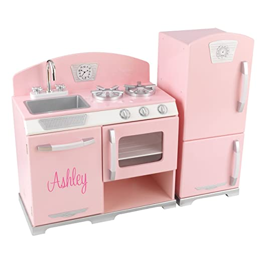Beau KidKraft Personalized Pink Retro Kitchen With Pink Script   Ashley