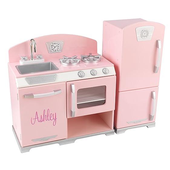 Wonderful KidKraft Personalized Pink Retro Kitchen With Pink Script   Ashley