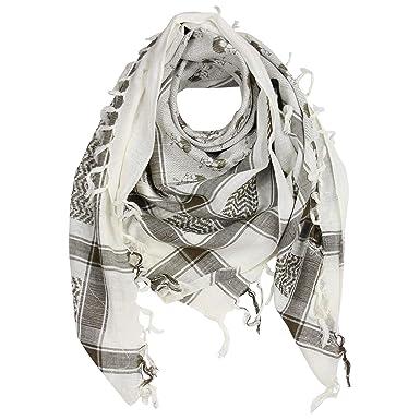 7d79a976b4ce FREAK SCENE® Foulard palestinien keffieh en coton - motifs tête de mort n°2- 100 x 100 cm - blanc motif vert olive  Amazon.fr  Vêtements et accessoires