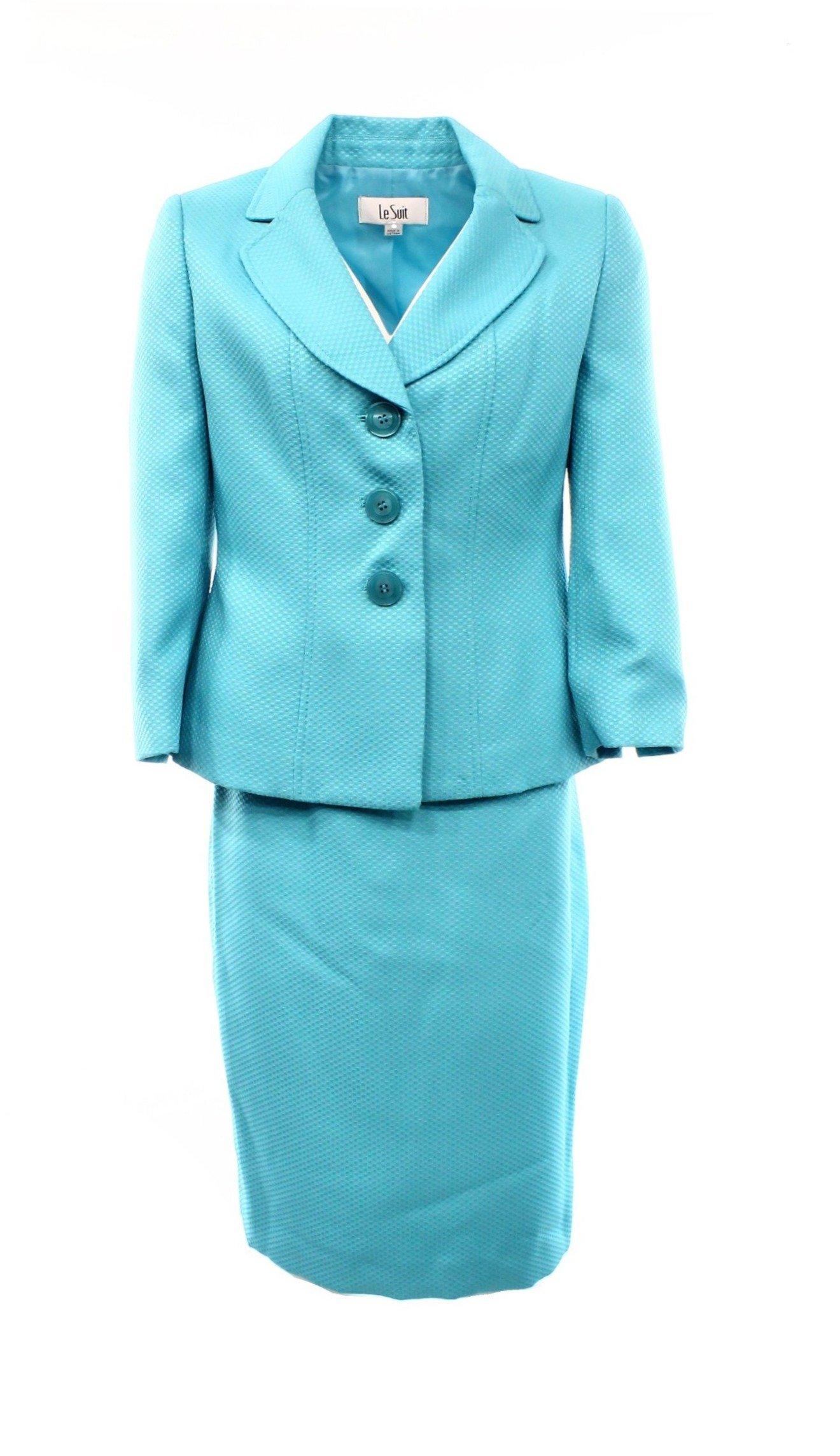 Le Suit Aqua Textured Womens Plus Skirt Suit Set Blue 16W by Le Suit