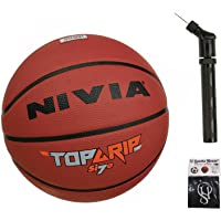 Nivia Top Grip Basketball Size - 7 (Pack of 1) + Ball Pump Double Action (Pack of 1) with SportsHouse Cotton Wrist Band
