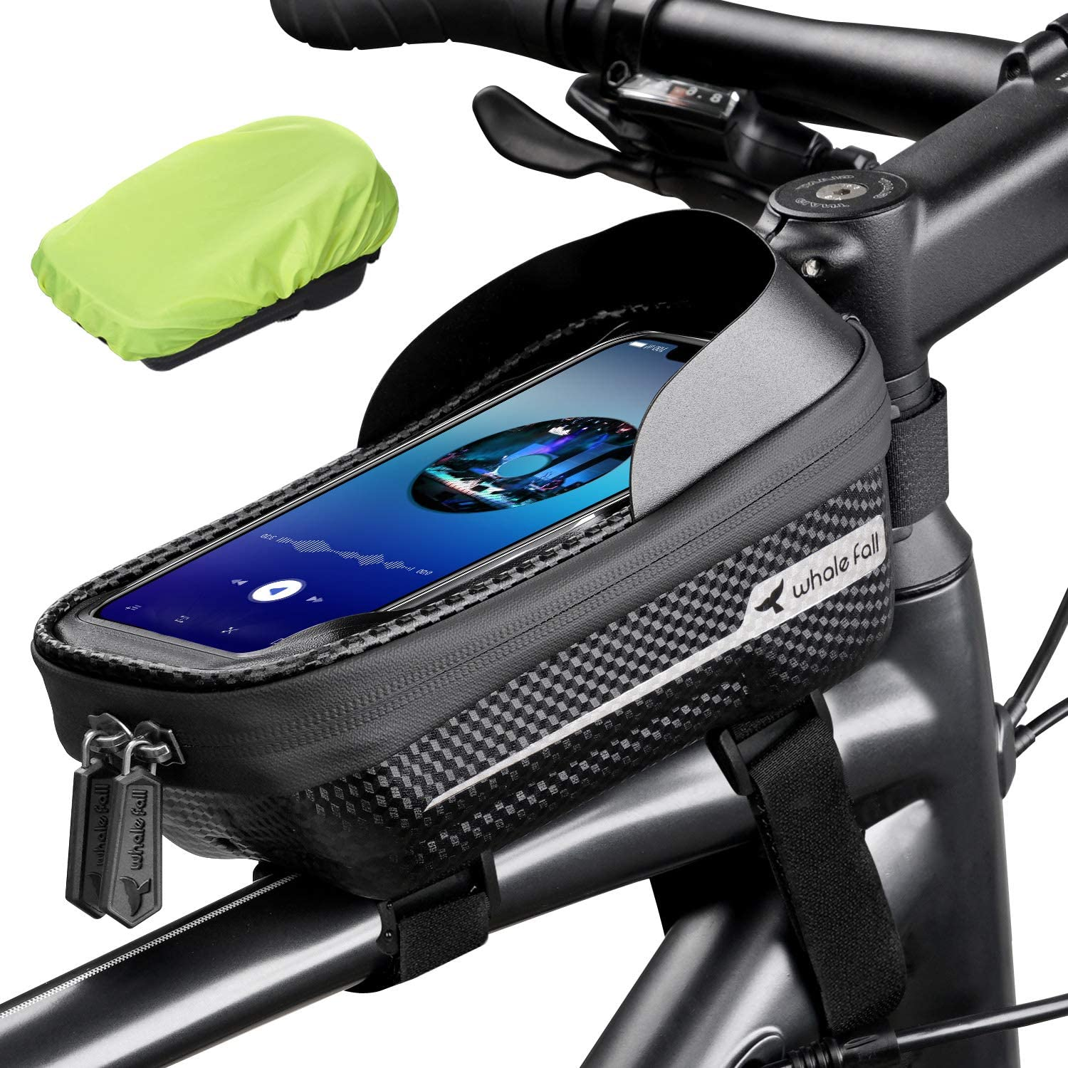 Hard Case Storage Pouch Bag Large Capacity For Bike Scooter Black With Zipper