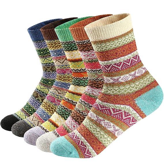 Ueither Calcetines de lana mujeres Cómodo coloridos calientes calcetines gruesa suave calcetines de Invierno: Amazon.es: Ropa y accesorios