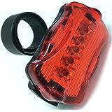 Rücklicht, Yesloo 5 LED Fahrradbeleuchtung mit 7 Leuchtmodi Wasserdichte Fahrrad Licht/ Nacht Rück Fahrradlampe, Akku Betrieben, Schwarz & Rot