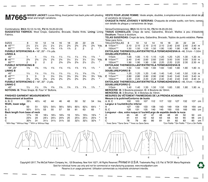 Amazon.com: McCall Patterns M7665B50 Misses Jackets with Yoke and Back Pleats