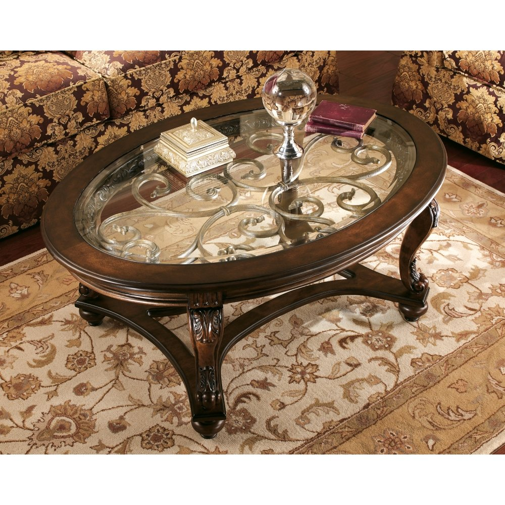 Ashley Furniture Signature Design - Norcastle Glass Top Coffee Table - Cocktail Height - Oval - Dark Brown