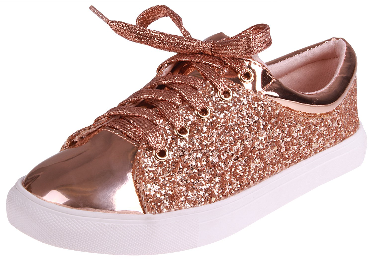 Enimay Women's Glitter Fashion Sneaker Classic Lace-up Mesh Running Shoe B07BTHQKYT 7 B(M) US|Sparkle Rose Gold