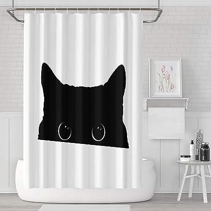 Darkchocl Home Decor Shower Curtain HookCute Black Cat Face Big Eyes Peeking Silhouette Fabric