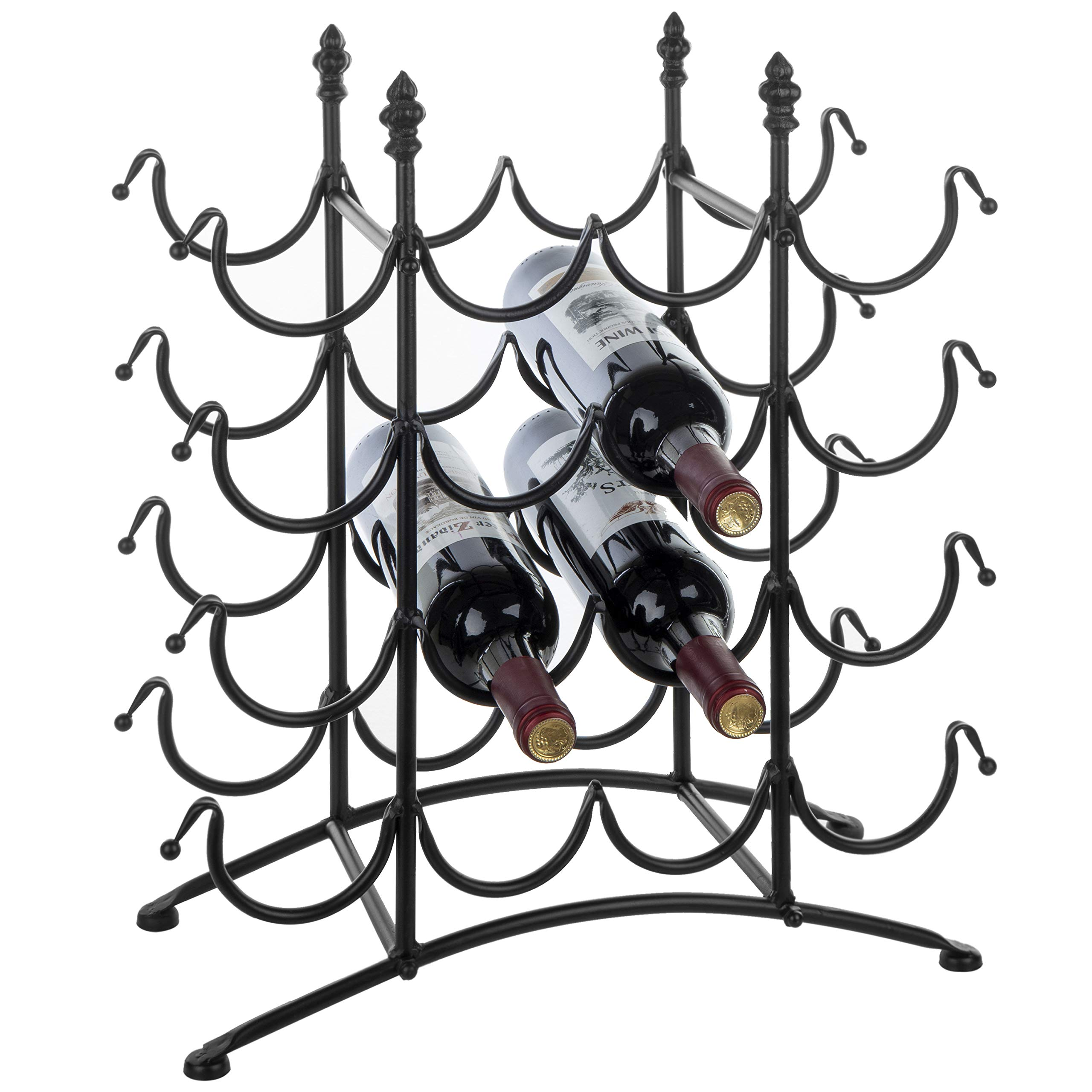 MyGift 16 Bottle French Country Black Metal Wine Display Rack/Freestanding Wine Storage Organizer