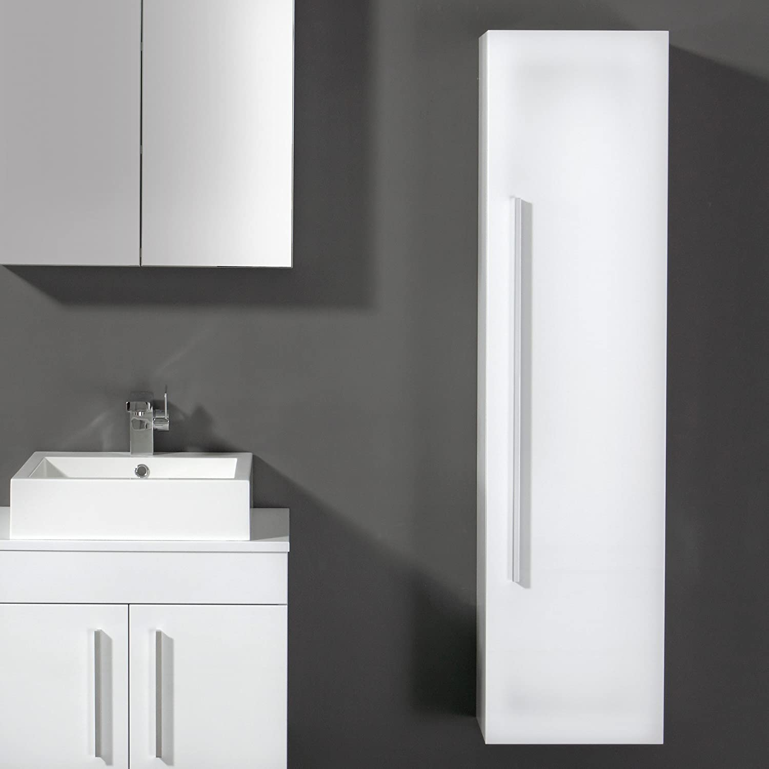 Charmant Bathroom Cabinet 1400x350 White Storage Wall Mounted Hung Side Unit Tall High  Gloss Finish: Amazon.co.uk: DIY U0026 Tools