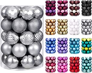 "XmasExp 60mm/2.36"" Christmas Ball Ornaments Shatterproof Christmas Ornaments Set Decorations for Xmas Tree Balls - 34ct (2.36'', Silver)"