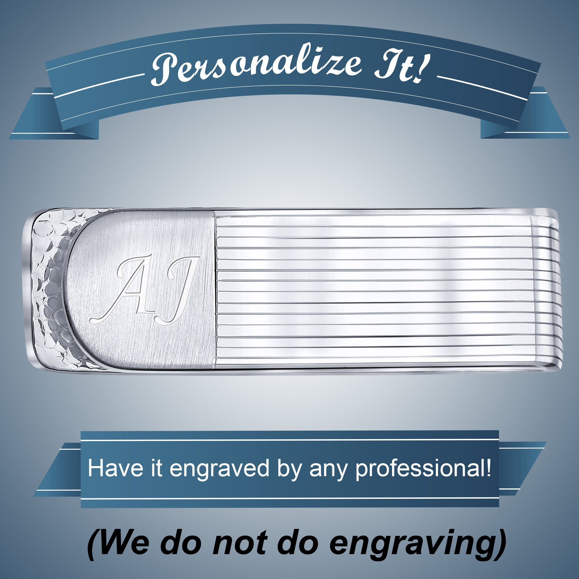 Sterling Silver .925 Money Clip Striped Design with Satin Finish Accent, Pebbled Underside. Designed and Made In Italy. By Sterling Manufacturers by Sterling Manufacturers (Image #4)