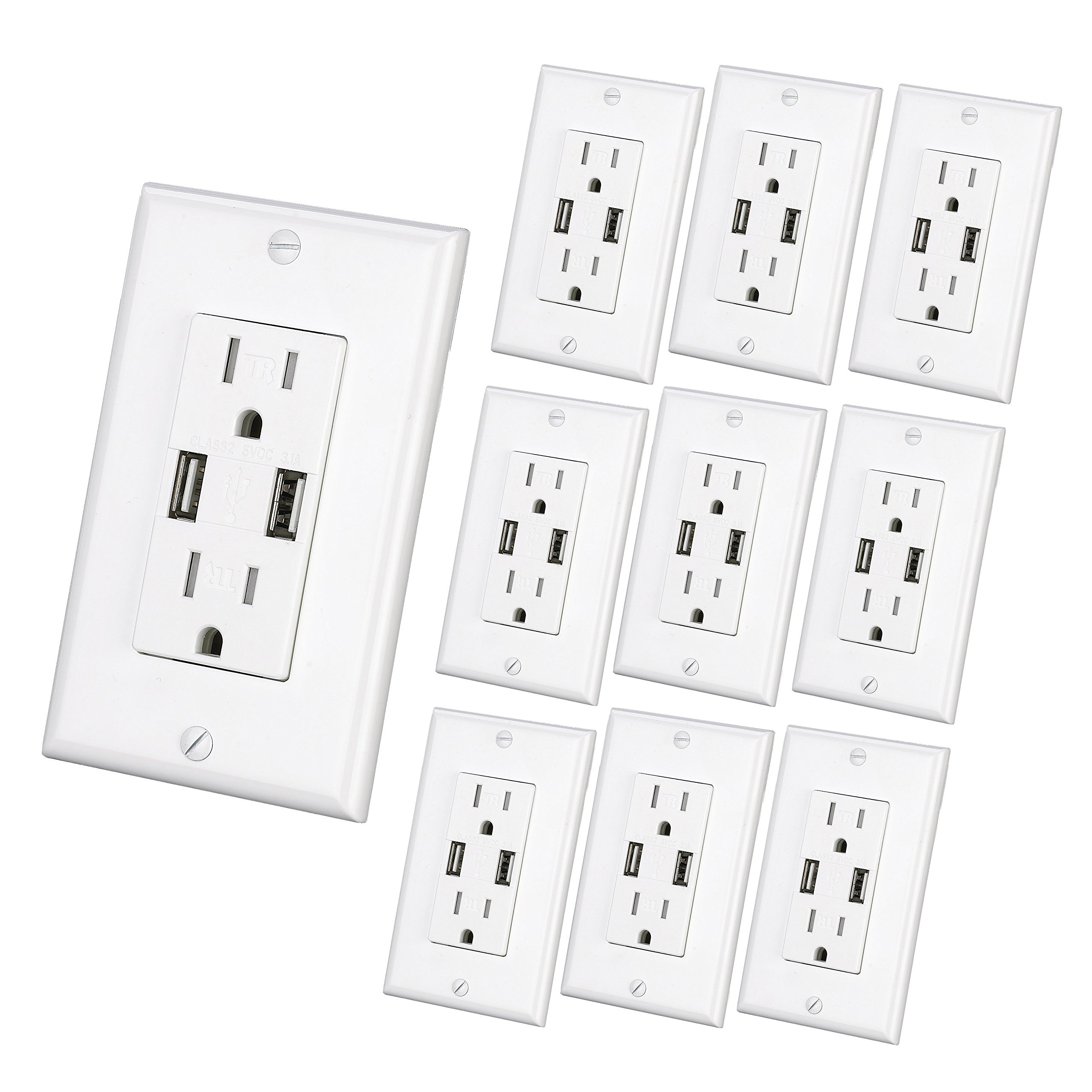 USB Charger Wall Outlet Dual High Speed Duplex Receptacle 15 Amp, Smart 4.8A Quick Charging Capability, Tamper Resistant Outlet Wall plate Included UL Listed White MICMI C48 (4.8A USB outlet 10pack)