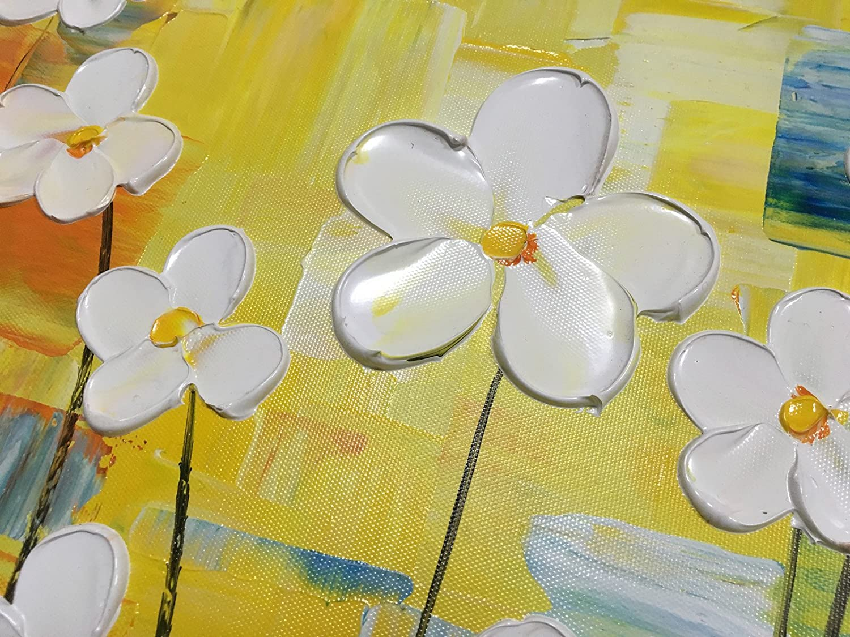 Konda Art Framed 100/% Hand-Painted Modern Flower Artwork Canvas Oil Painting for Walls Textured White Color Petal Decor Art 40 W x 20 H