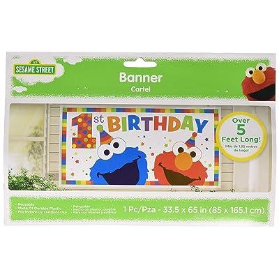 amscan Sesame Street Elmo Turns One Horizontal Giant Sign Banner, Birthday: Toys & Games