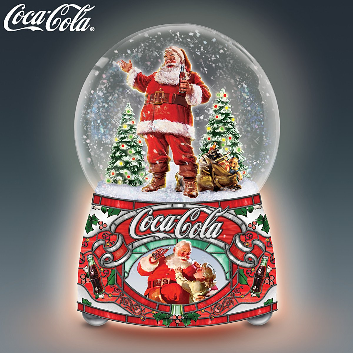 COCA COLA Santa Musical Glitter Globe Lights Up and Plays Jingle Bells by The Bradford Exchange by Bradford Exchange (Image #5)