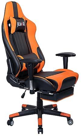 Silla de juego de PC de gran tamaño Ergomonic Racing Chair con reposapiés retráctil, cuero de la PU de Ejecutivo, Reposacabezas de cuero Masajeador ...