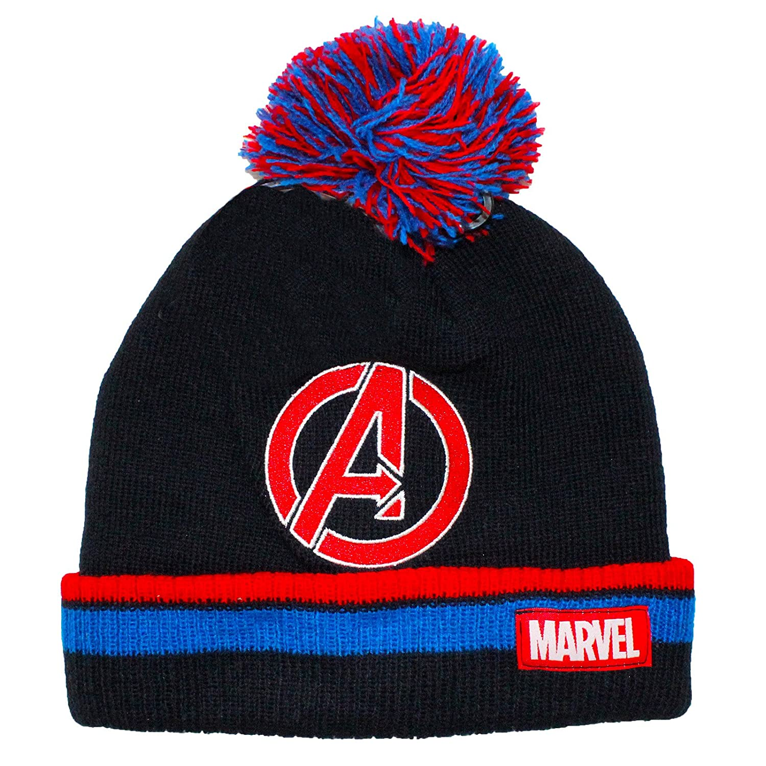 Marvel Official Licensed Adults Mens Avengers Assemble Winter Bobble Beanie  Hat One Size A Symbol Design  Amazon.co.uk  Clothing 205d16448eb