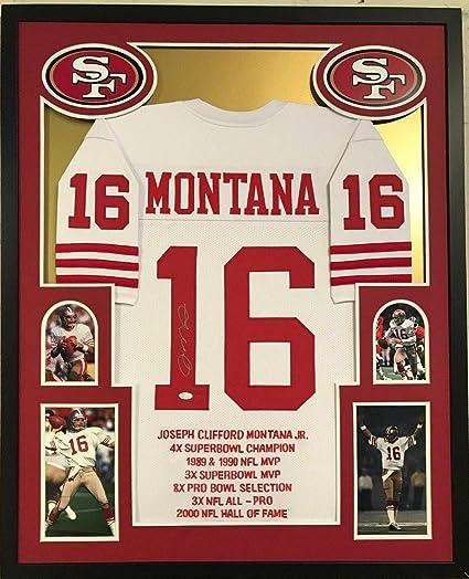 size 40 b5abb adf3b FRAMED JOE MONTANA AUTOGRAPHED SIGNED SAN FRANCISCO 49ERS ...