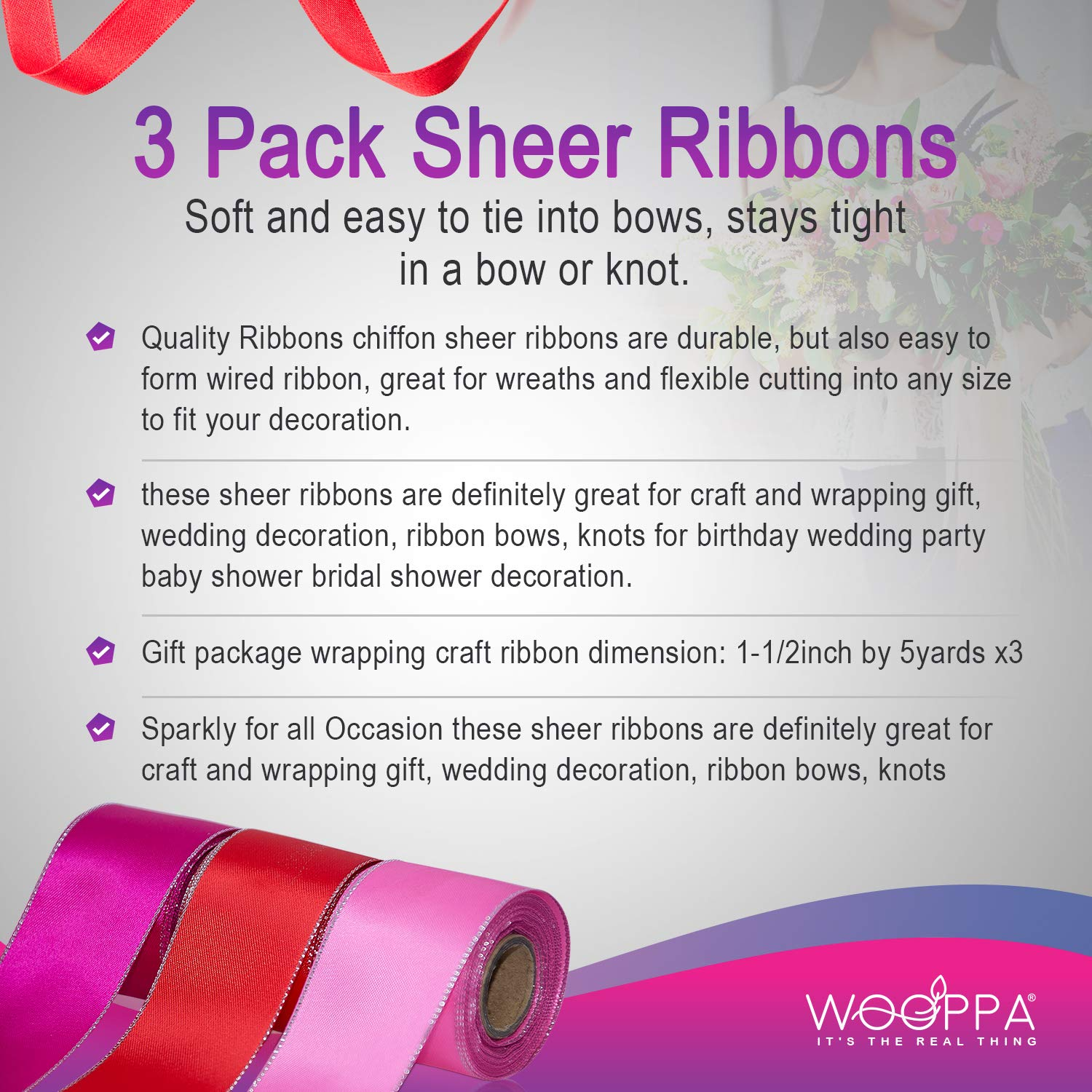Wooppa 3pcs Sheer Chiffon Ribbon 1.5Inch/×5 Yards Dusty Rose Fading Ribbon Set for Wedding Gift Package Valentines Bouquets Wrapping Birthday Baby Shower Home Decor Wreath Decorations Fabric