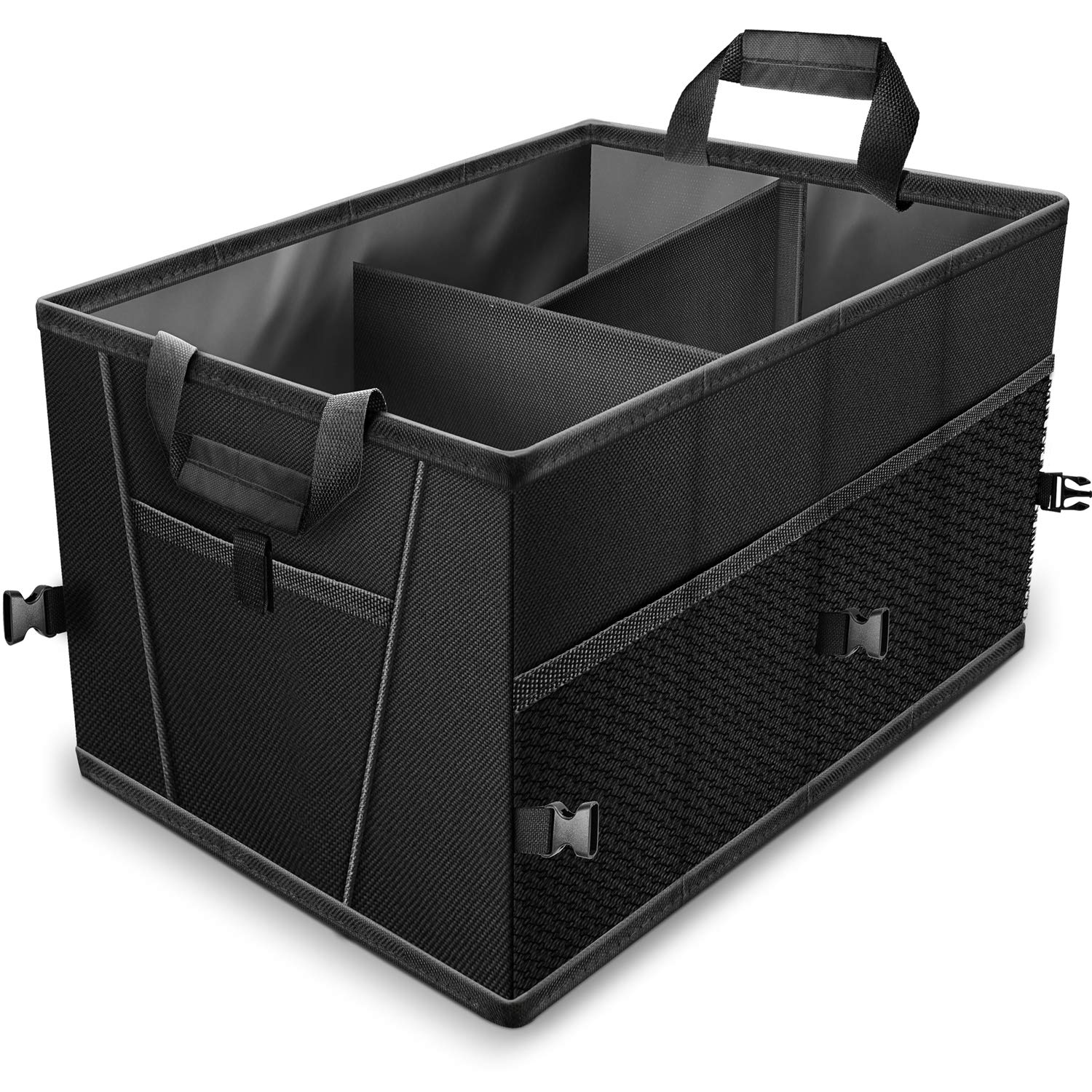 Trunk Organizer for Car SUV Truck Van Storage Organizers Best for Auto Accessories in Bed Interior, Collapsible Vehicle Caddy Large Box Tote Compartment Heavy Duty for Grocery, Tools or Boots by Motorup America