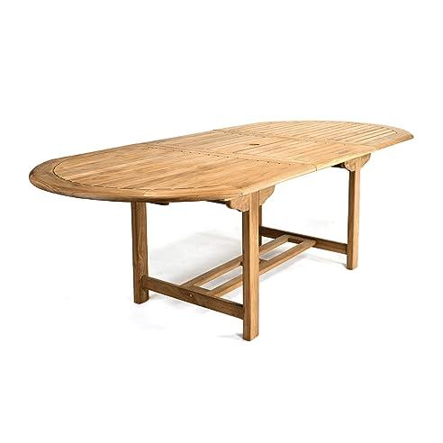Gartentisch ausziehbar holz  Amazon.de: DIVERO GL05525 Großer ovaler ausziehbarer Gartentisch ...