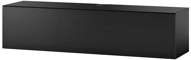 Sonorous STA 260T-BLK-BLK-WL hängende TV-Lowboard mit schwarzer Korpus, obere Fläche, gehärtetem Schwarzglas und Klapptür mit schwarzem Akustikstoff, ohne Sockel