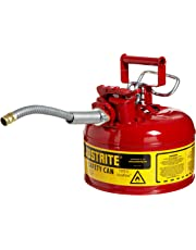 "Justrite 7210120 AccuFlow 1 Gallon, Galvanized Steel Type II Red Safety Can with 5/8"" Flexible Spout"