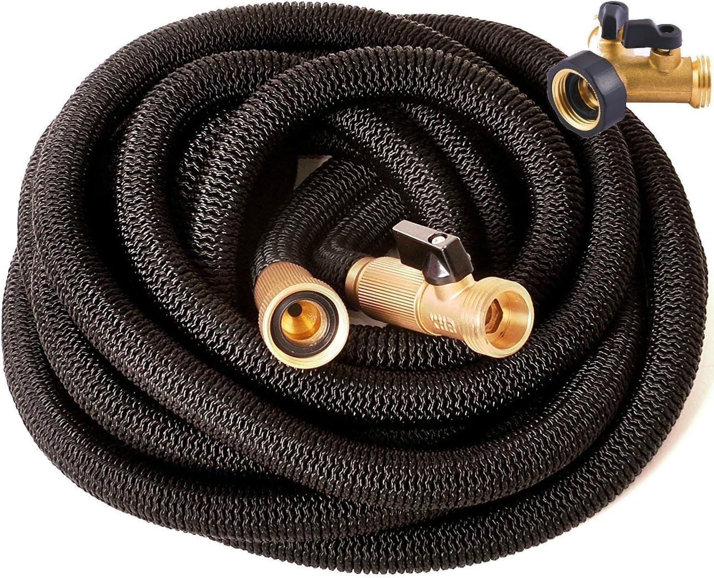 Riemex Expandable Hose 75 FT Black - Heavy Duty Garden Water Hose - Triple Latex - Metal Garden Hose Splitter 2 Way Y Valve