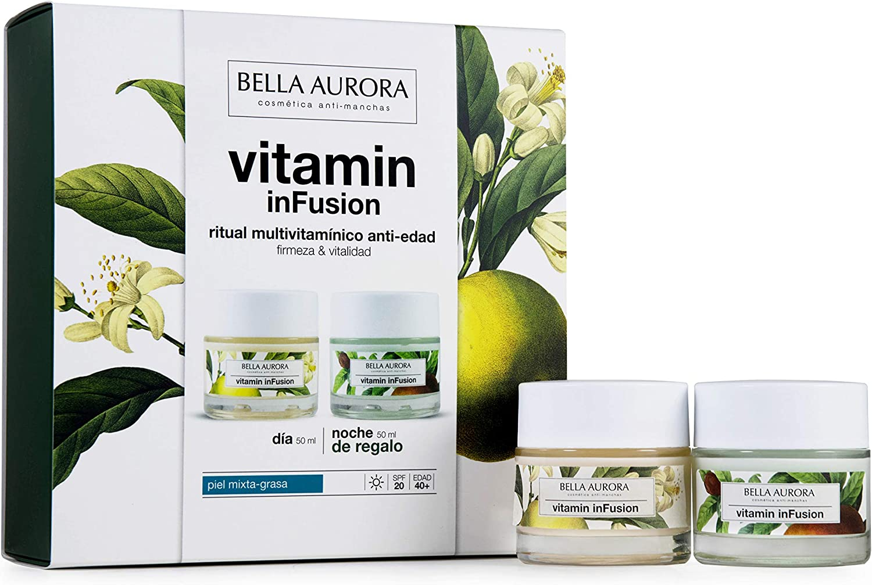 Bella Aurora Pack Vitamin Infusion Dia Antiedad Piel Mixta 50Ml + Vitamin Infusion Noche 50Ml Bella Aurora 1 Unidad 100 ml, Verde: Amazon.es: Belleza