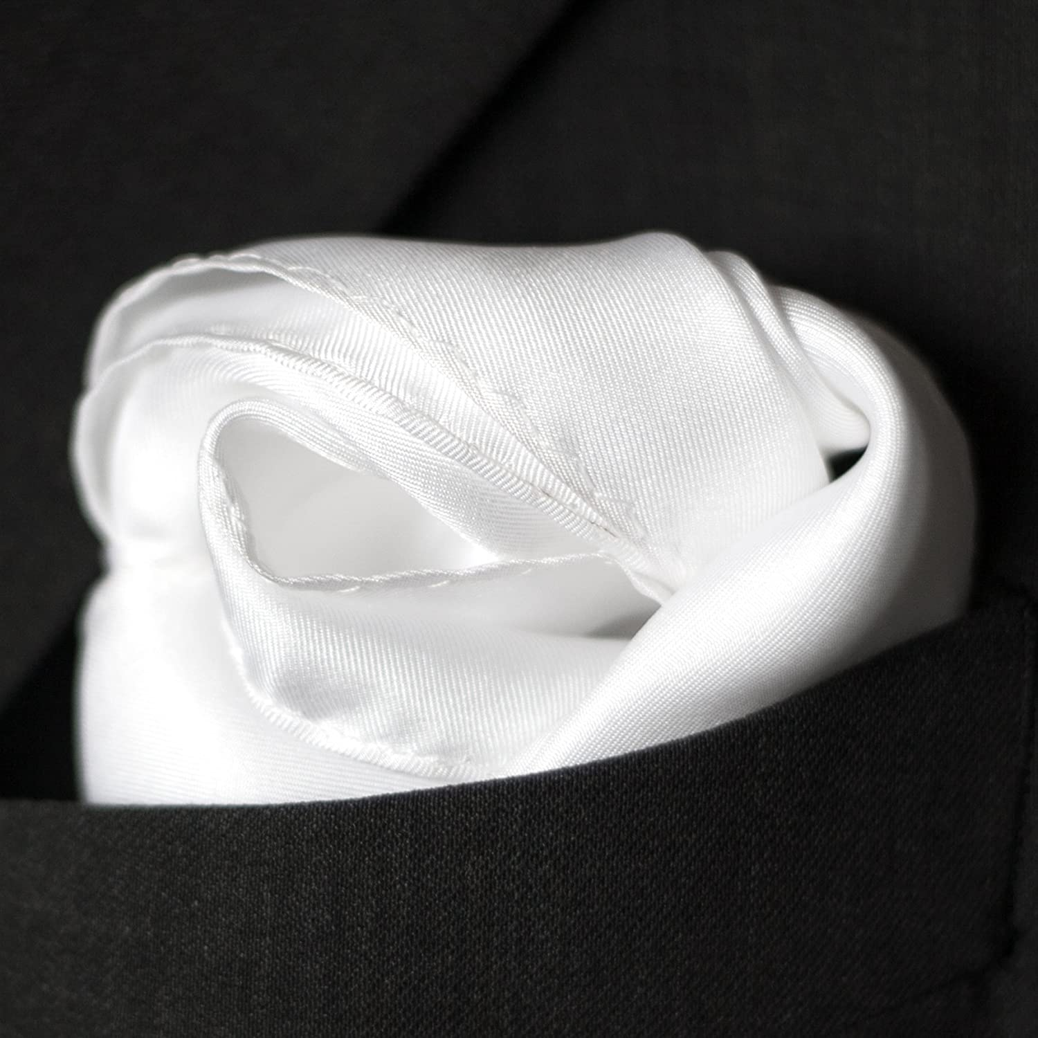 Fine White Silk Pocket Square by Royal Silk - Full Sized 17