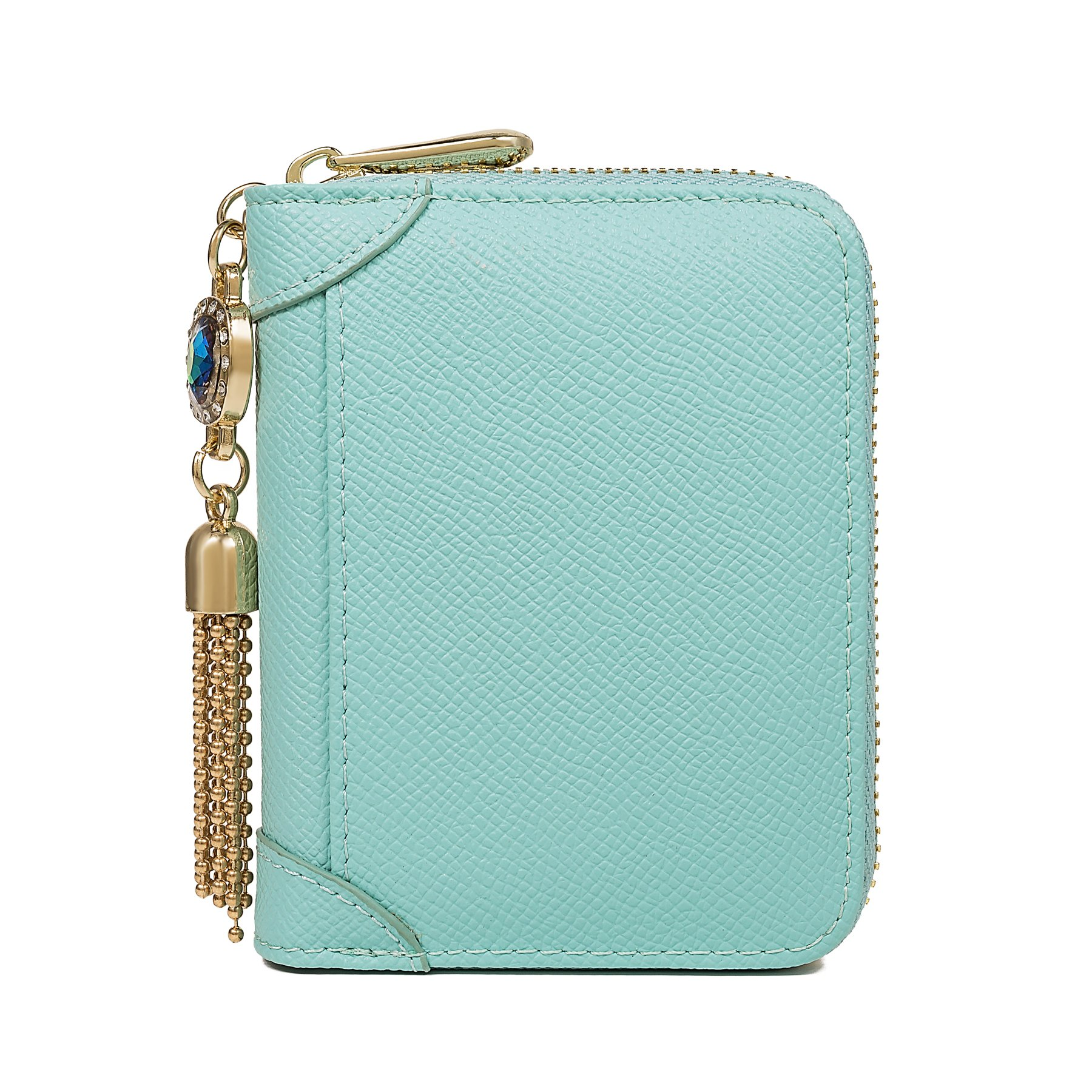 SafeCard Women's Credit Card Case Wallet 2 ID Window and Zipper Card Holder Purse (Blue Jewel)