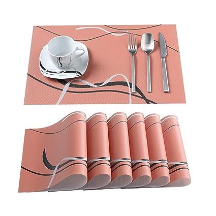 PVC Platzset 6 TLG Set Tischmatte Tischset für 6 Personen VEWEET Serie Bonnie
