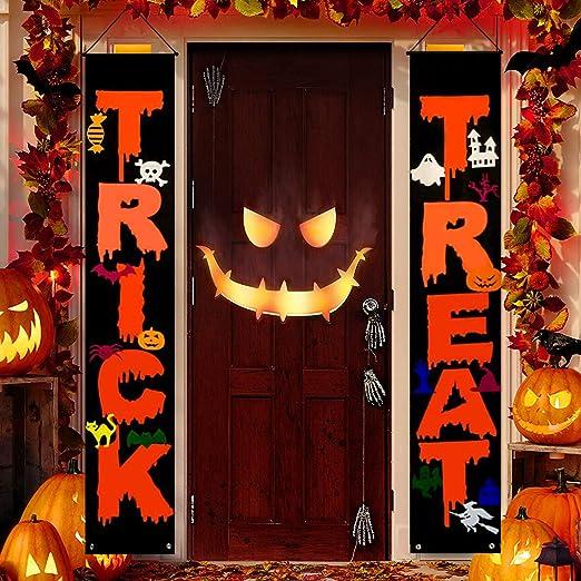 Amazon.com : GoosWexmzl Halloween Decorations Outdoor, Trick or Treat Set Includes Trick or Treat Banner for Front Door Display for Garden, Halloween Porch Sign Set (Style 1) : Garden & Outdoor