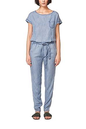ESPRIT Damen Jumpsuit 058EE1L002, Blau (Blue Medium Wash 902), 34