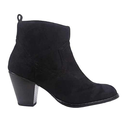 Women Simple Ankle Chunky Cuban High Heel Zipper Faux Suede Boots Shoes