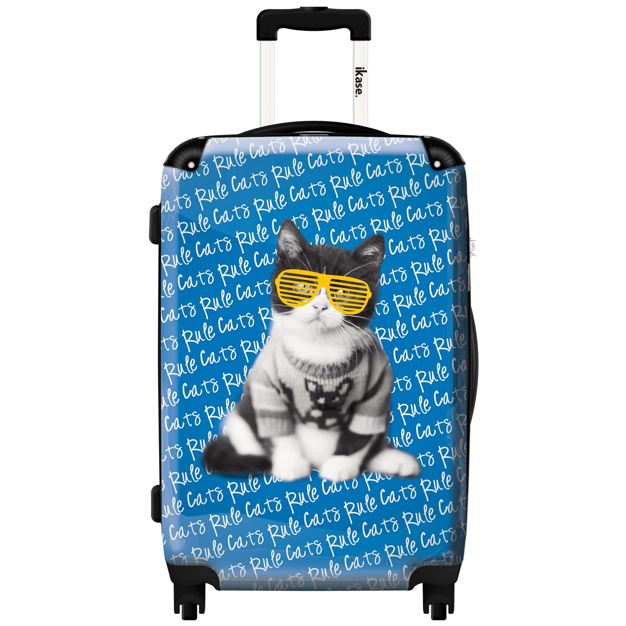 iKase 'Cat Yellow Glasses' Check-in 24-inch,Hardside Spinner Suitcase by iKase