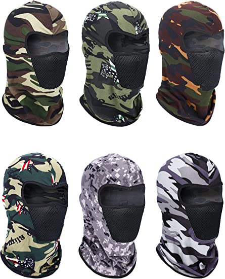 6 Pieces Balaclava Face Mask Motorcycle Mask Windproof Camouflage Fishing Cap Face Cover for Sun Dust Protection
