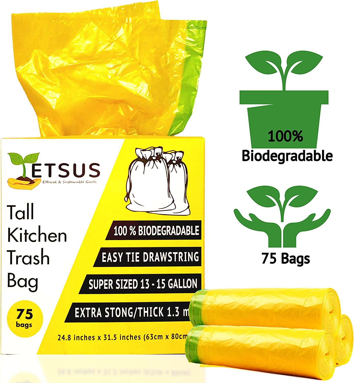 ETSUS Large Biodegradable Trash Bags 75 Pieces, Tall Heavy Duty Rubbish Wastebasket Liner Bags, Garbage Bags for Kitchen, Bathroom, Car, Office, 13 to 15 Gallon