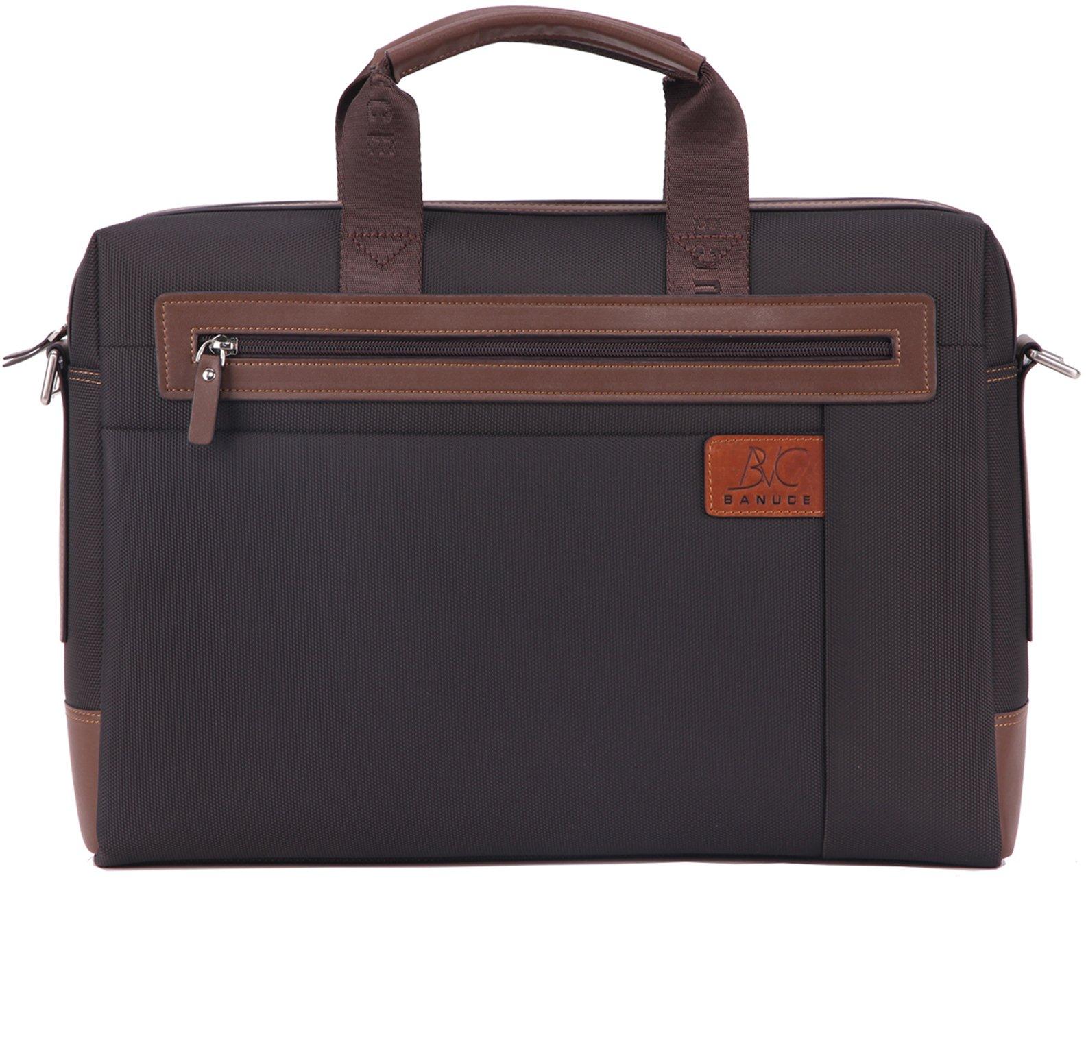 Banuce RTXCXBM032-BK Men's Waterproof PU Leather Briefcase Shoulder Bags Attaches 14'' Laptop