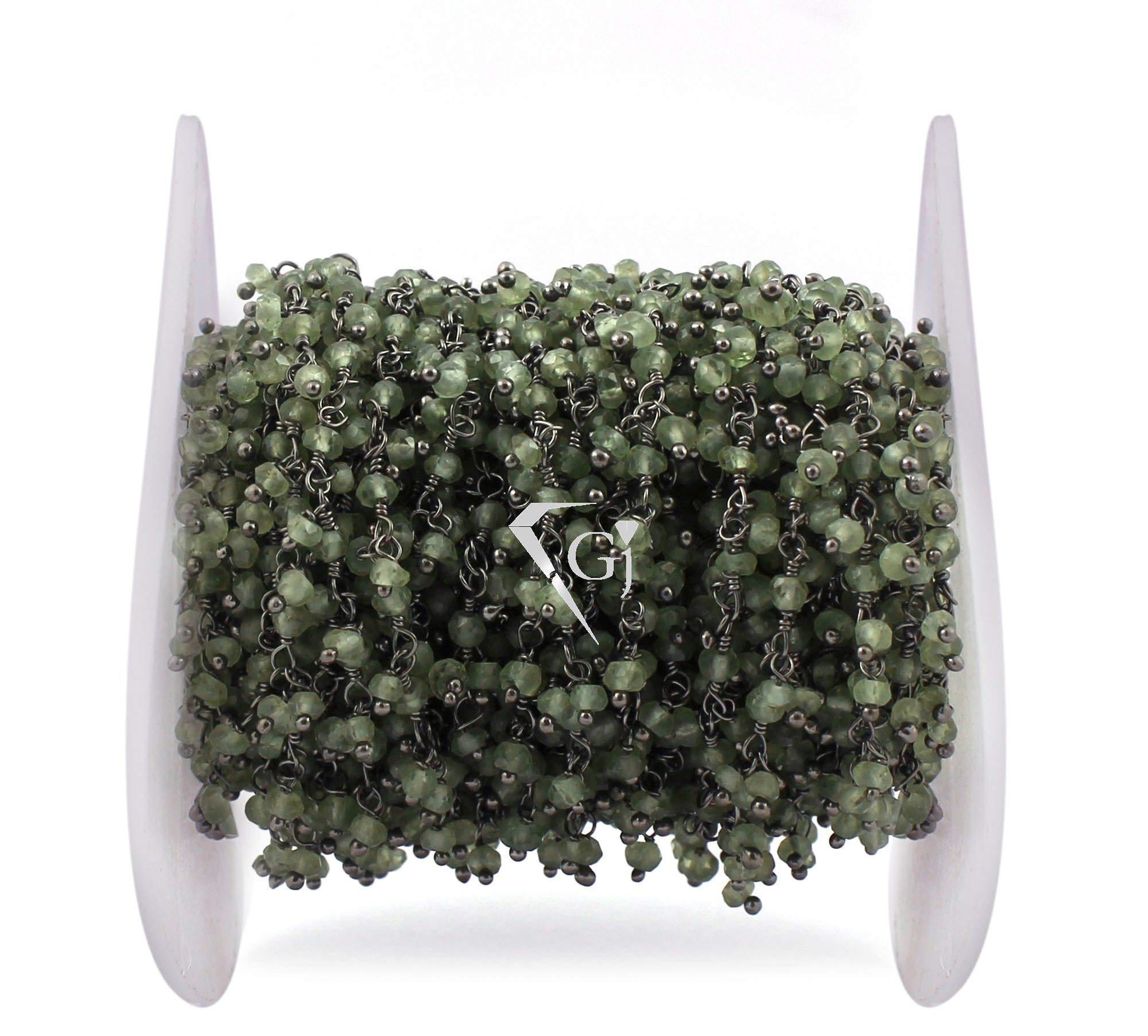15 Feet Peridot Gemstone Cluster Chain, Dangle Beads Chain, Gemstone Rosary Chain, Wire Wrapped Beads Chain, Black Plated Link Chain by LadoNarayani