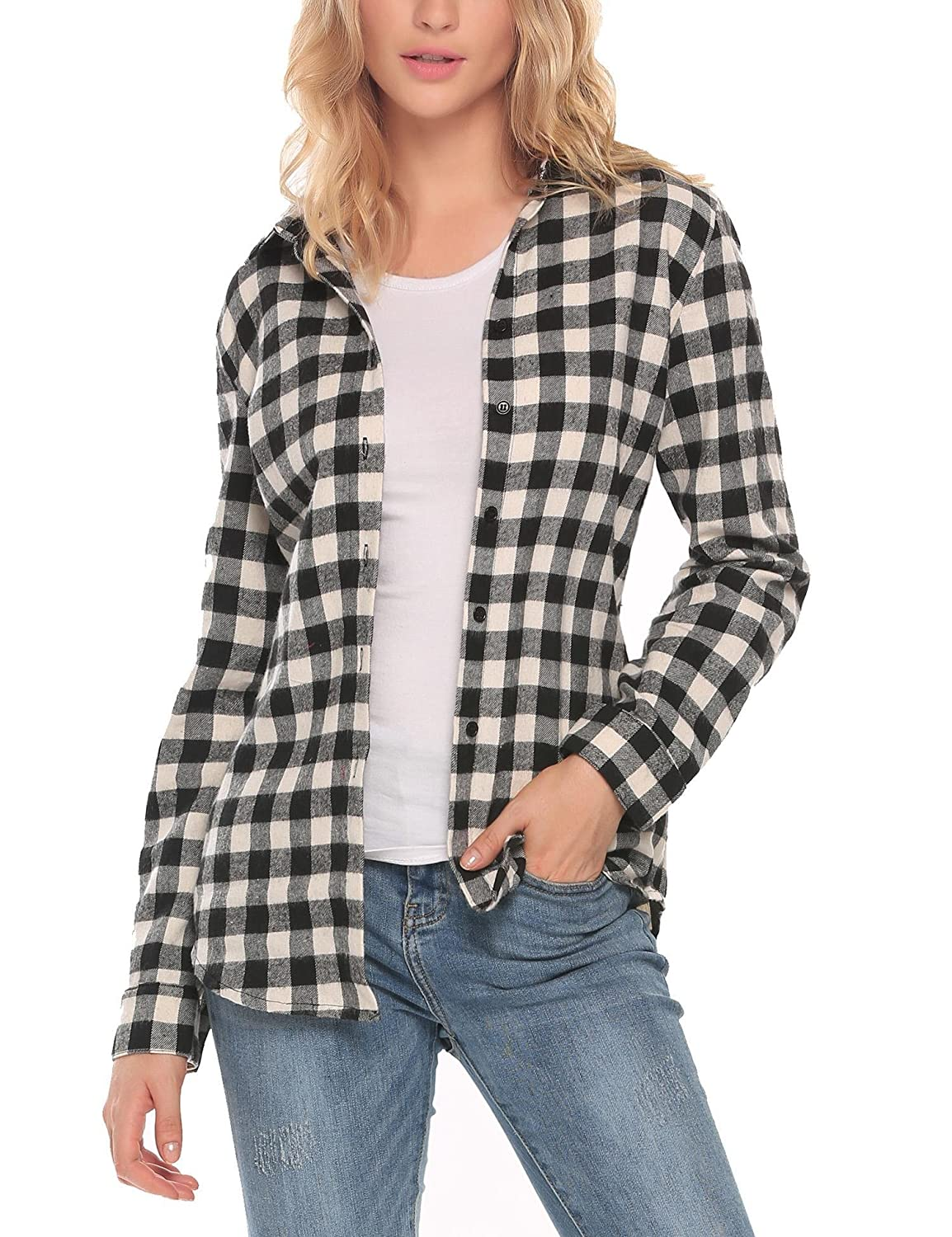 bbfa1c04 The Plaid Flannel Shirt Features: Turn-down collar, Long sleeve, Plaid  pattern, Button down shirt; Wrinkle-resistant, Button up ...