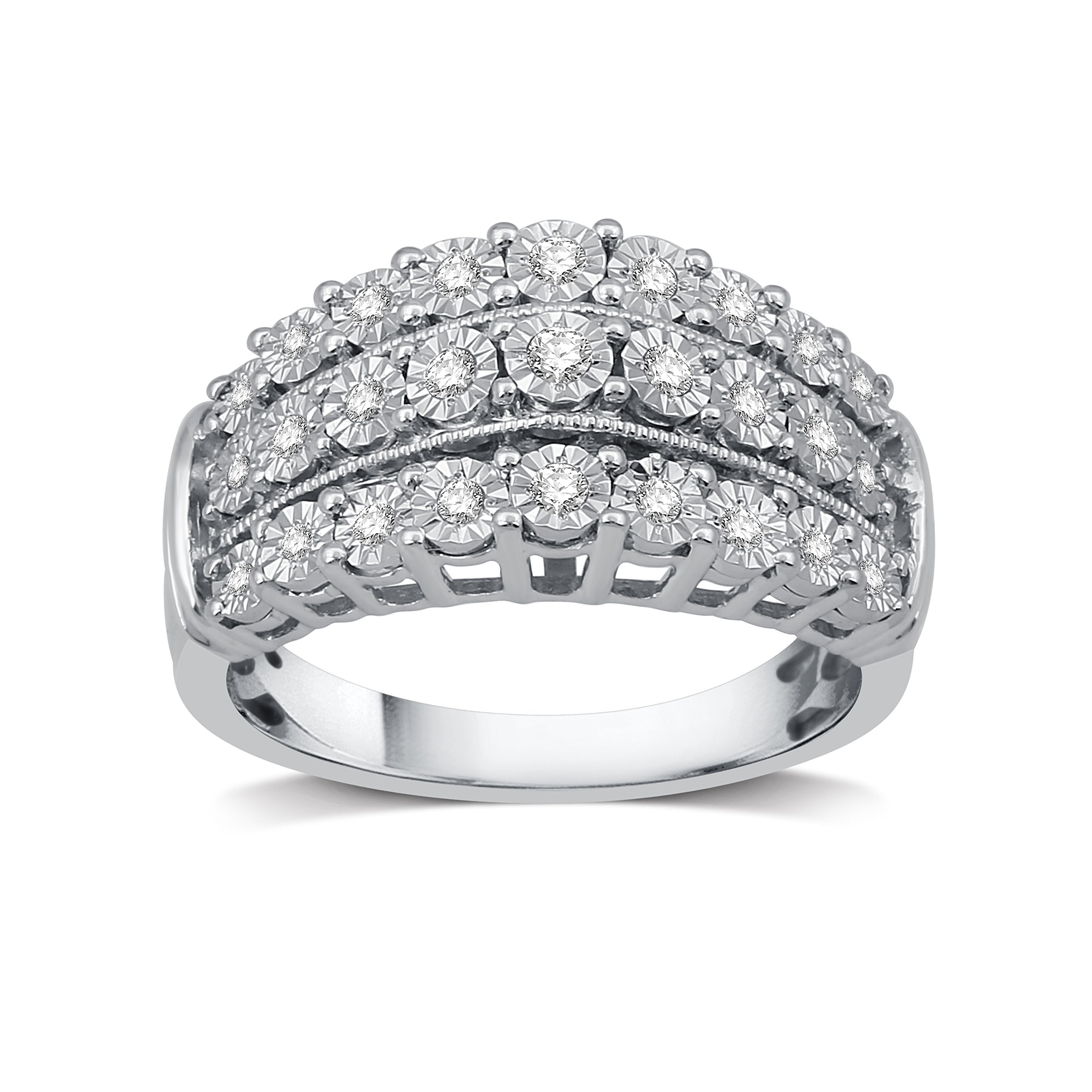 DeCarat 1/4 CT.T.W. Diamond Sterling Silver and Milgrain Three Row Anniversary Ring